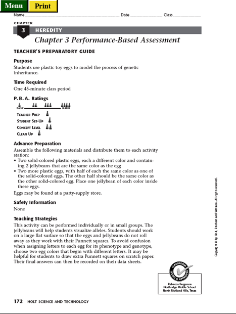 Worksheet Holt Science And Technology Worksheets part ii from holt science and technology 2000 cells heredity classification