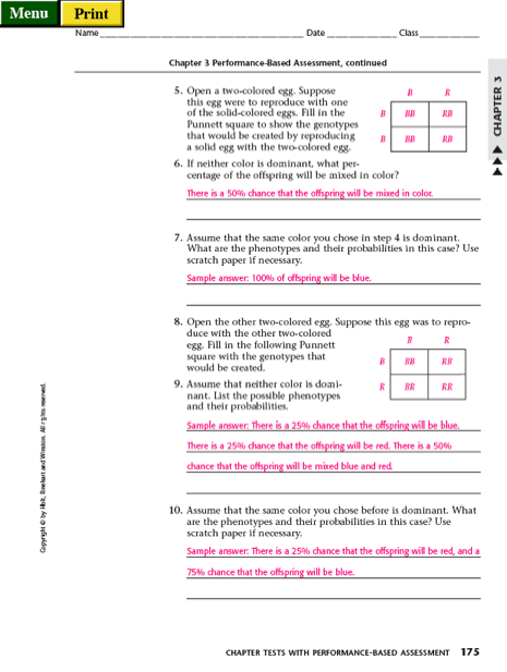 Printables Punnett Square Worksheet Answers part ii