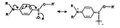 Resonance of carbonyl group on PABA
