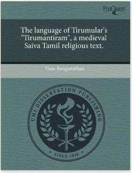 Vasu Renganathan Department Of South Asia Studies University Of